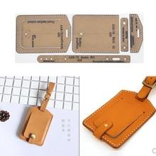 1 Set DIY Leather Handmade flip Luggage Tag Sewing Pattern Hard Kraft Paper Stencil Template