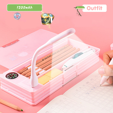 Pencil-Case Stationery-Box School-Supplies Gift Multifunctional with Led-Light Mini Fan
