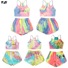 Tracksuit Outfits-Set Shorts Crop-Top Streetwear Gradient Women Summer 2piece Letter