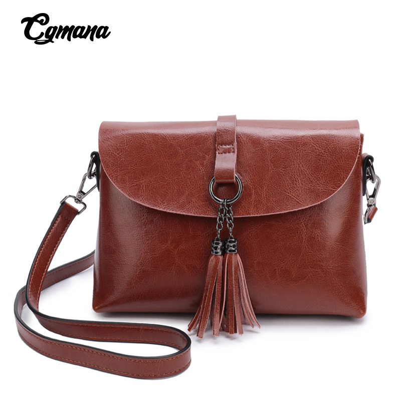 Quality Genuine Leather Female Shoulder Bag Vintage Tassel Women Crossbody Bag 2019 Messenger Bag Small Flap Bags For Lady Purse