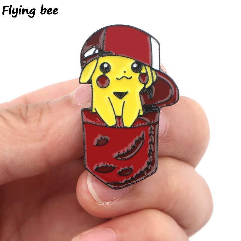 Flyingbee Kartun Pikachu Lucu Enamel Pin Tas Ransel Lencana Lucu Bros Kemeja Kerah Pin X0402