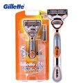 Gillette Fusion Мощность бритва бритвенные машины с двумя Для мужчин уход за кожей лица Борода для стрижки волос моющиеся бритвы Батарея Мощность ...