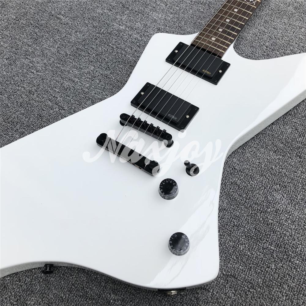 La couleur blanche ES 6 cordes guitare électrique, bois d'acajou solide de forme d'oie explorent la guitare électrique, matériel noir