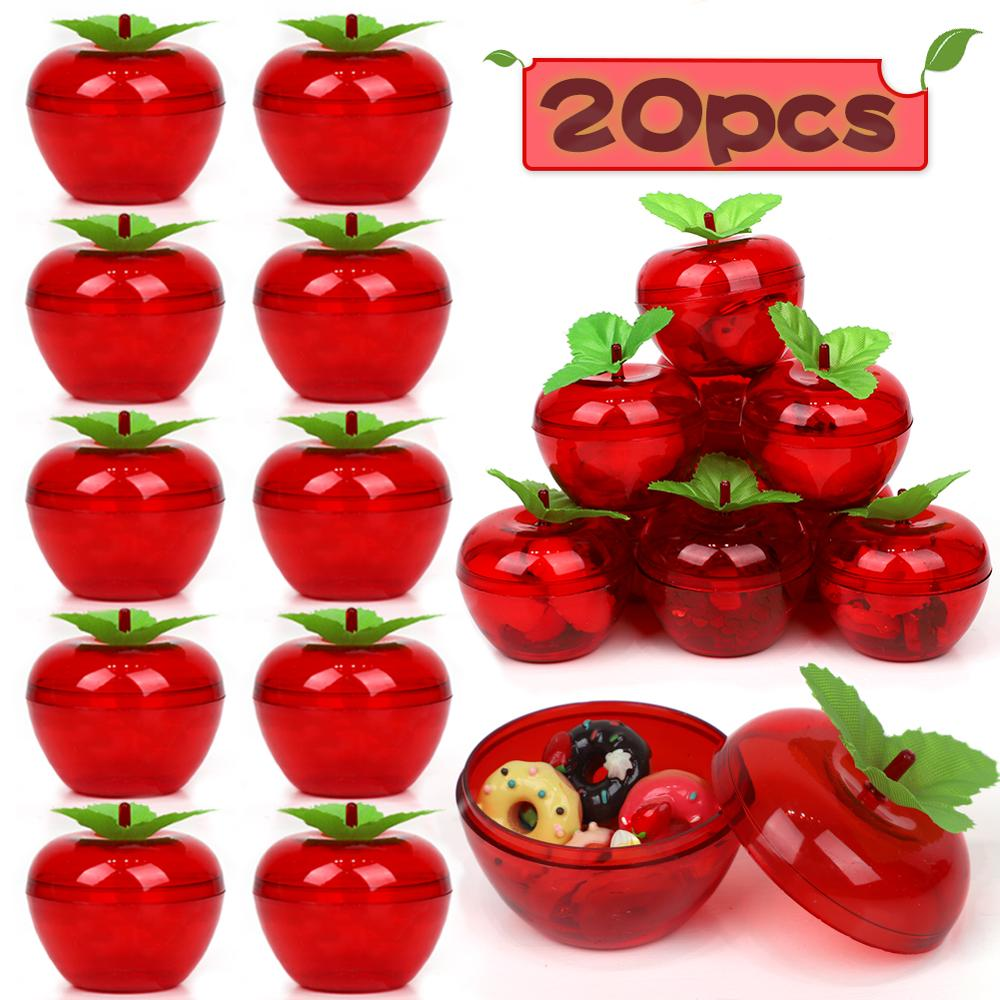 Wedding Party Favors 20Pcs Apple Container Toy Filled Plastic Bobbing ornamental fruit trees apple Birthday/Wedding Decorations