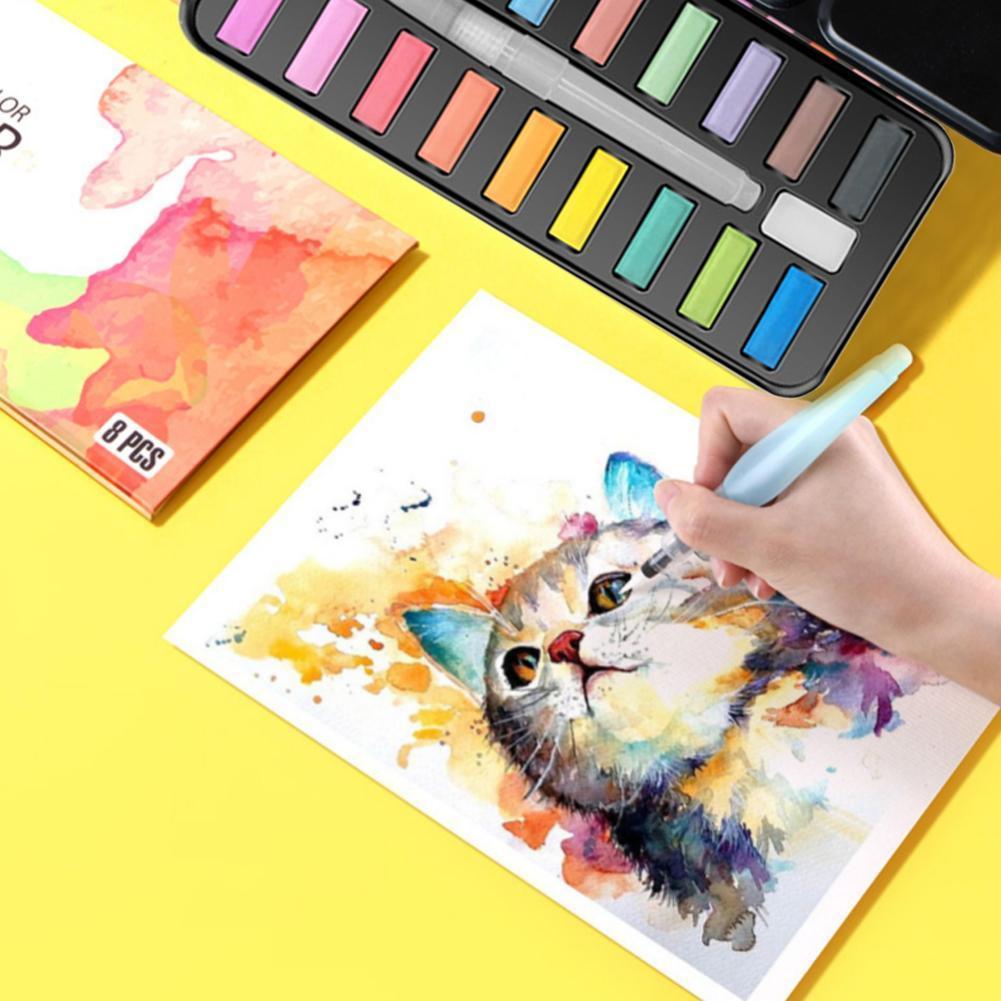 Pincel de acuarelas profesional, 24 colores, sólido Gouache, metálico, bolígrafo de agua, con caja de suministros, pigmento artístico Diy Z2A3 Papel de acuarela profesional de algodón, 20 hojas, cuaderno de acuarela pintado a mano para artistas, materiales para dibujo y Bellas Artes