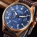 42 мм CORGEUT с синим циферблатом Бронзовый чехол с датой запас хода автоматические мужские часы
