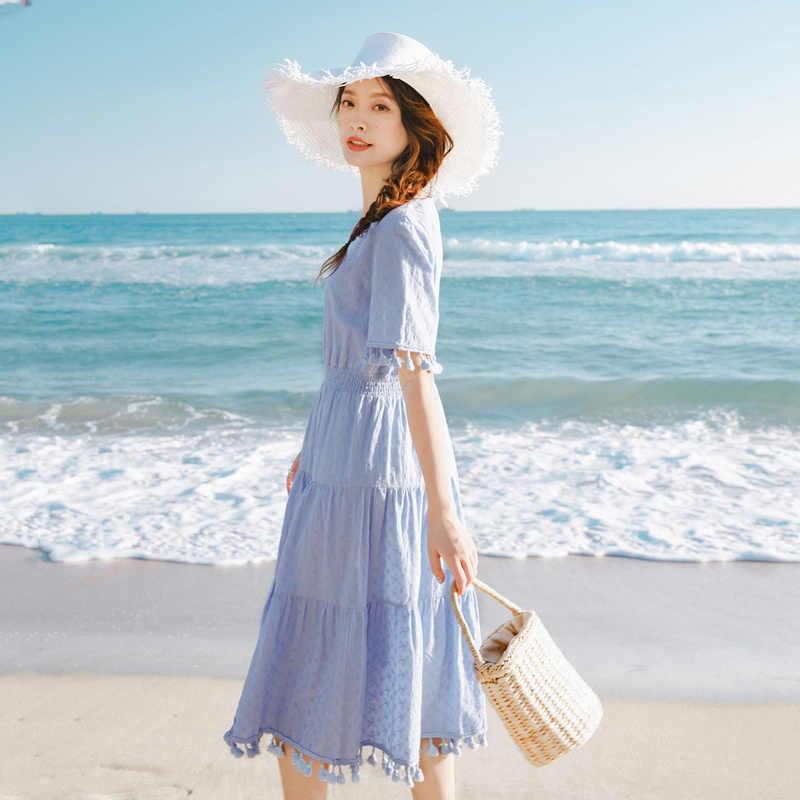 INMAN 2020 yaz yeni varış v yaka tatlı püsküller Nipped bel Slimmed kısa kollu katmanlı elbise