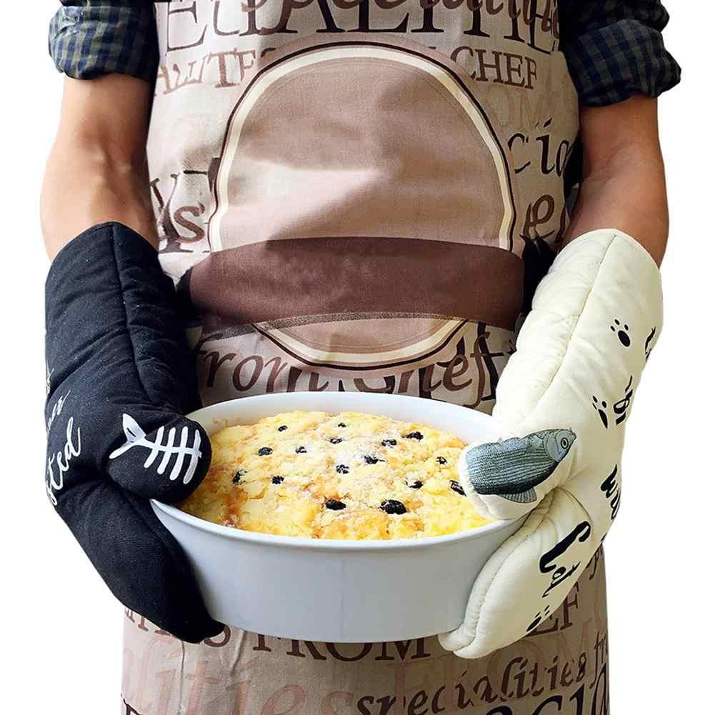 Gato lindo de Cozinha Não-deslizamento Luvas de Algodão 100% Luvas de Alta Temperatura Anti-scalding Engrossar Microondas Forno Luvas de Isolamento