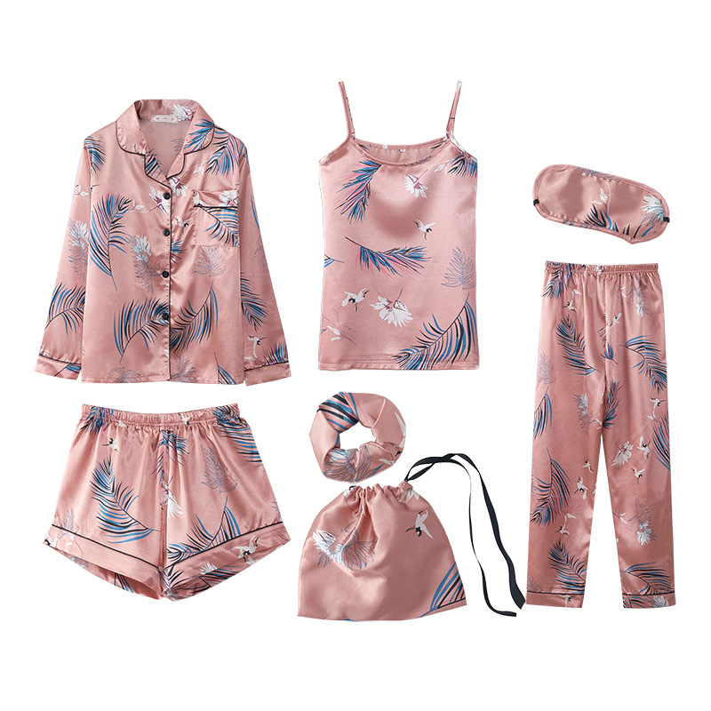 Women Pajamas Sets Spring Summer 7 Pcs Set Silk Print Shorts Long Sleeve Top Elastic Waist Pants Full Lounge Sleepwear Nightwear