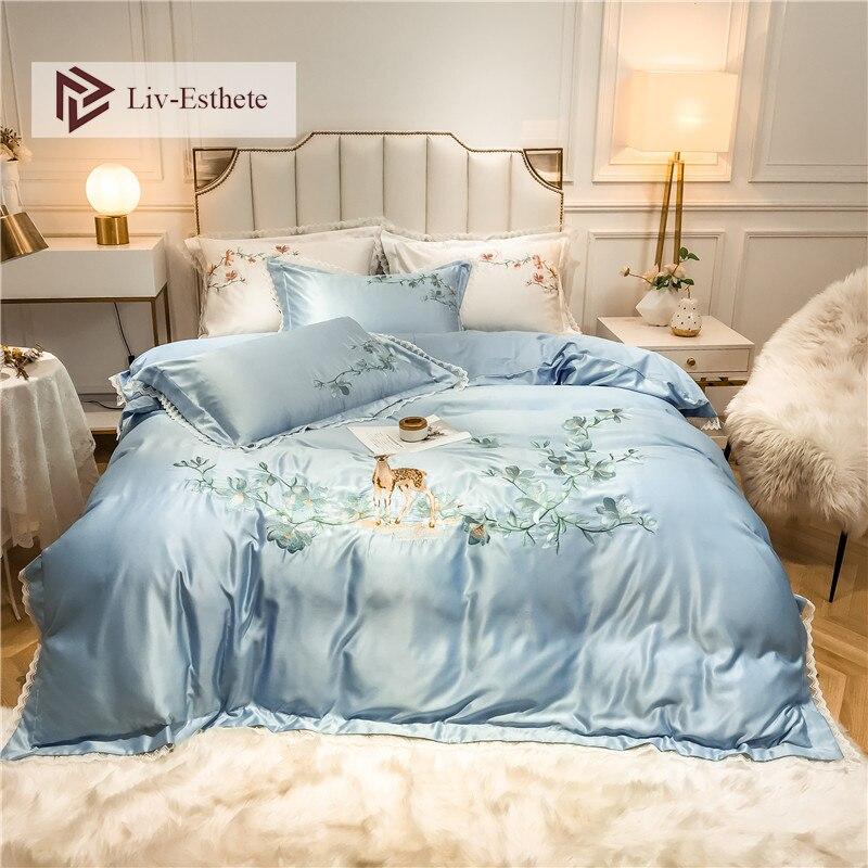 Liv-esthete luxe broderie fleurs cerf bleu ensemble de literie soyeux coton housse de couette ensemble taie d'oreiller Double reine roi linge de lit