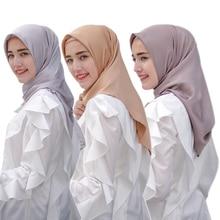 110*110cm Silk Satin Muslim Shawl malaysia hijab Plain Wrap femme musulman Hijabs Islamic clothing Turban Scarves For Women