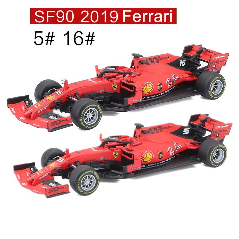 Bburago 1/43 1:43 2019 SF90 Ferrari Leclerc Vettel No5 No16 F1 Formula 1 Racing Car Diecast Display Plastic Model Children Toy
