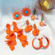 FYUAN Fashion Orange Style Drop Earrings for Women Bijoux Bohemia Acrylic Petal Small flower Dangle Jewelry Gifts
