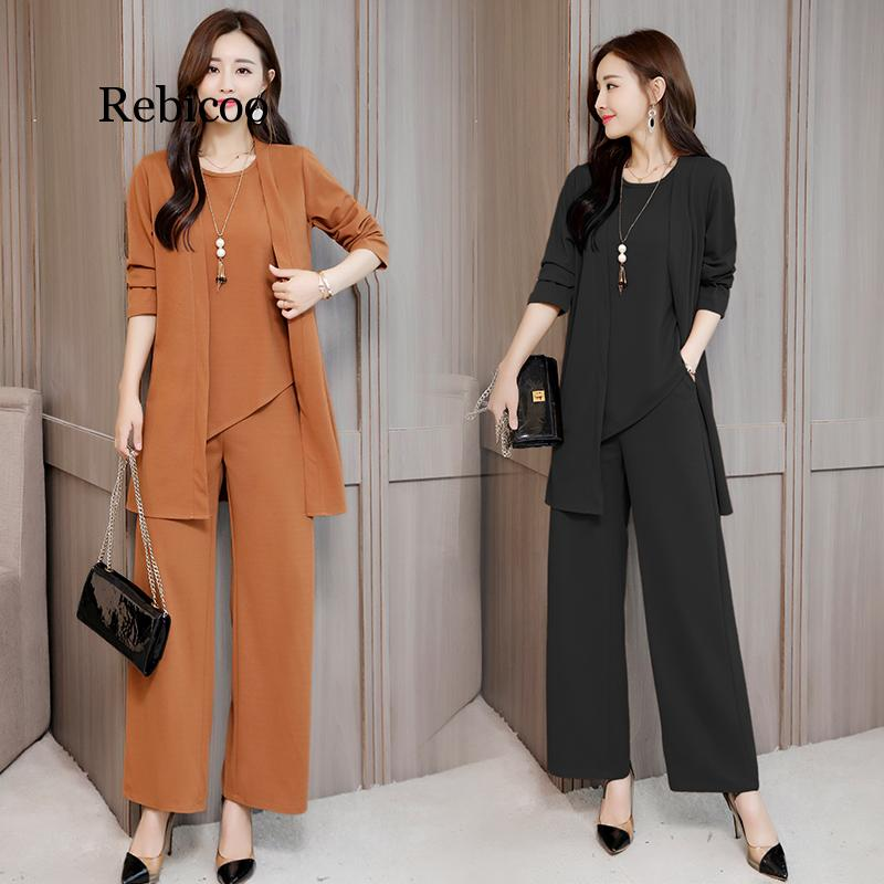 Plus Size 5XL New Autumn Woman's Tops And Pants Three Pieces Sets O-Neck Full Sleeve Loose Fashion Pullovers Hot Sale