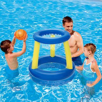 Nowa woda koszykówka dla dzieci nadmuchiwane pływające obręcz do koszykówki pierścień Toss gra pływanie zabawka basenowa dla dzieci Sport wodny tanie i dobre opinie CN (pochodzenie) 3 lat S-451 Basketball hoop