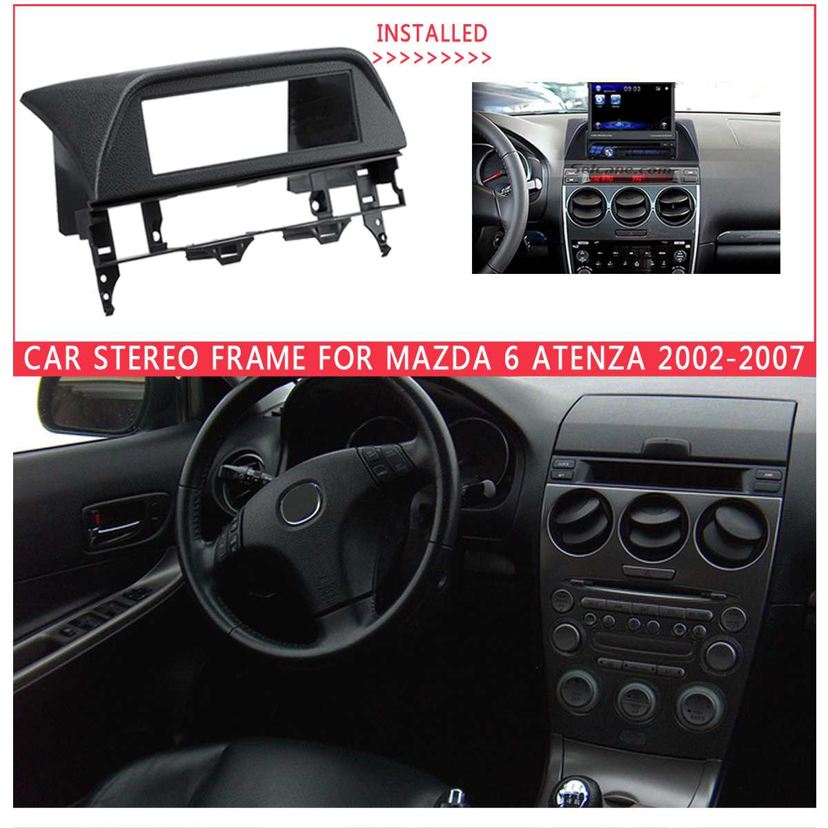 1 DIN Car <font><b>Radio</b></font> Fascia Mounted Kit for <font><b>Mazda</b></font> <font><b>6</b></font> Atenza 2002 2003 -2007 Stereo Dashboard Surrounded Panel Fitting <font><b>Frame</b></font> Grey Black image