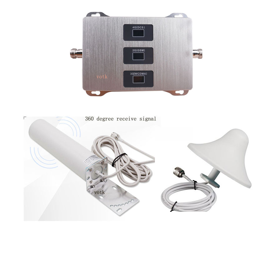 Mobile 2G 3G 4G Tri Band Signal Repeater 900 1800 2100 Booster GSM DCS WCDMA  Cellular Signal Amplifier WITH ANTENNA FULL SET