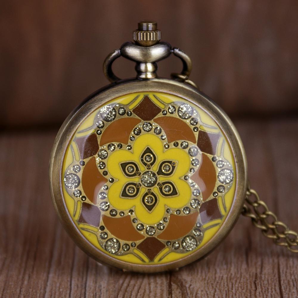 Hot Saling Vintage Yellow Epoxy Jade Flower Pocket Watch Women Ladies Girls FOB Chain Watch Best Gift CF1162