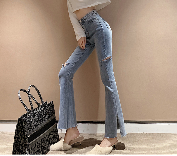 Korean Version Of The New Autumn Washed Side Slit Was Thin Straight Pants Mop Jeans