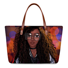 HYCOOL Hand Bags for Women Colorful Light Spot African Black Girl Printing Female Big Tote Bag Travel Phone Cosmetics Pouch