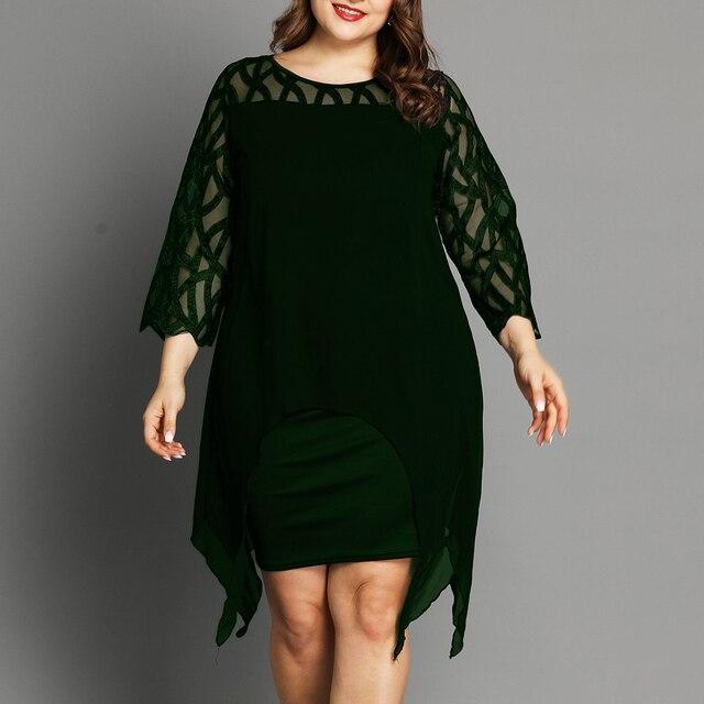 L-6XL Women Plus Size Dress Elegant Ladies Black Sheer Lace Sleeve Dress 2020 Chic Casual Printed Lace Evening Party Dresses D30 5