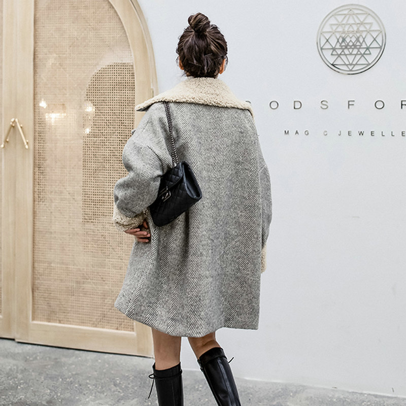 Gray Berber Fleece Collar Cuff Coat 4