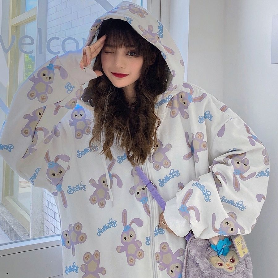Zip-up hoodie Spring and summer Korean loose jacket women's baseball cool tide ins Harajuku style Japanese fried Sweatshirt 7