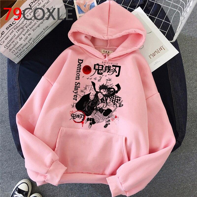 Hoodies Hot Anime Demon Slayer Men Kawaii Cartoon Kimetsu No Yaiba Hoody Cute Demon Blade Harajuku Top Black Sweatshirts Male