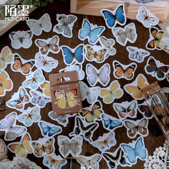 46 pcs/box A brief history of butterflies Decorative Stationery Stickers set cute Scrapbooking DIY Diary Album Stick Lable - discount item  18% OFF Stationery Sticker