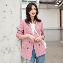Korean Pink Plaid Ladies Blazer Simple Loose Casual Suit Jacket Stylish Abrigos Retro Spring Autumn Women's Clothing MM60NXZ
