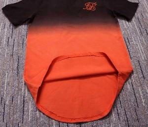 Image 5 - summer Cotton silk siksilk T shirt Gradient Printed T shirts  Short Sleeves Hip Hop T shirt shirts Tops Men Longline tees With