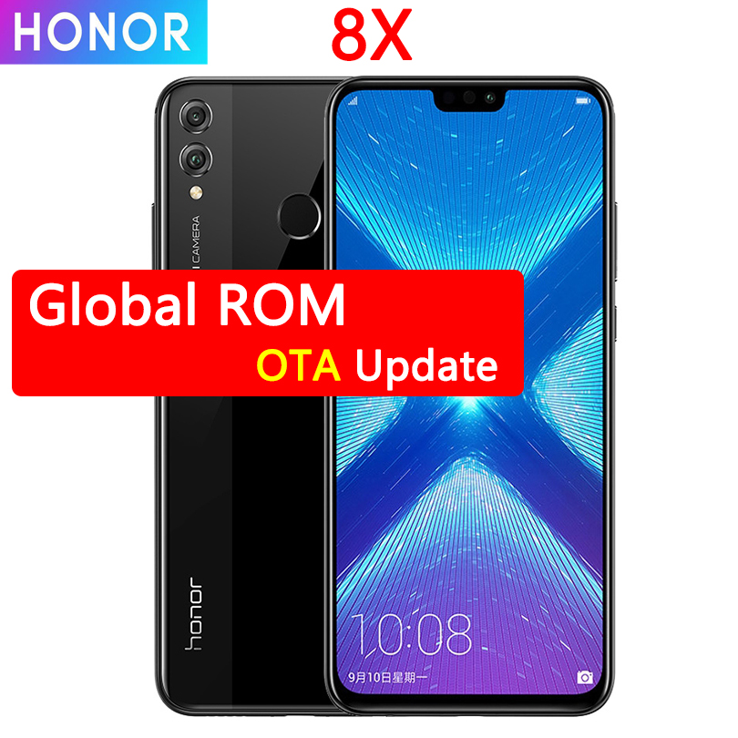 Honor 8X MobilePhone 6.5 Inch Screen 3750mAh Battery Android 8.2 Dual Back 20MP Camera Multiple Language Smartphone