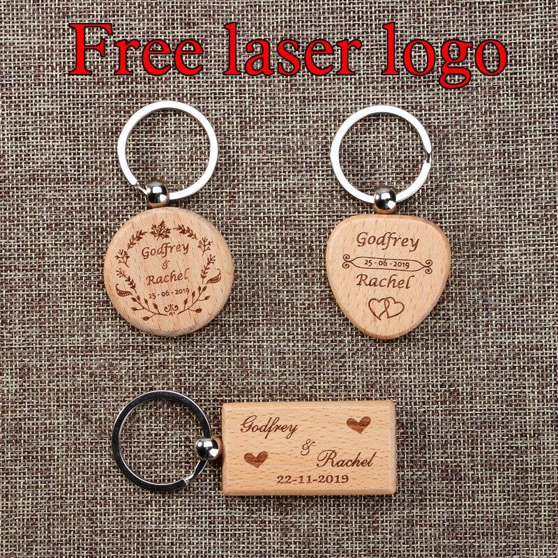 2020 Бесплатный Лазерный Логотип, пустые круглые прямоугольные деревянные брелоки «сделай сам», рекламные деревянные брелоки, подарок на сва...