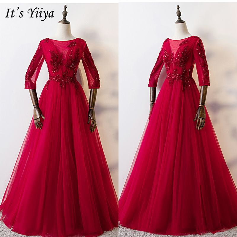 It's Yiiya Evening Dress 2019 Burgundy Appliques Embroidery Luxury Ball Gown Elegant Half Sleeve Party Long Formal Dresses E1010