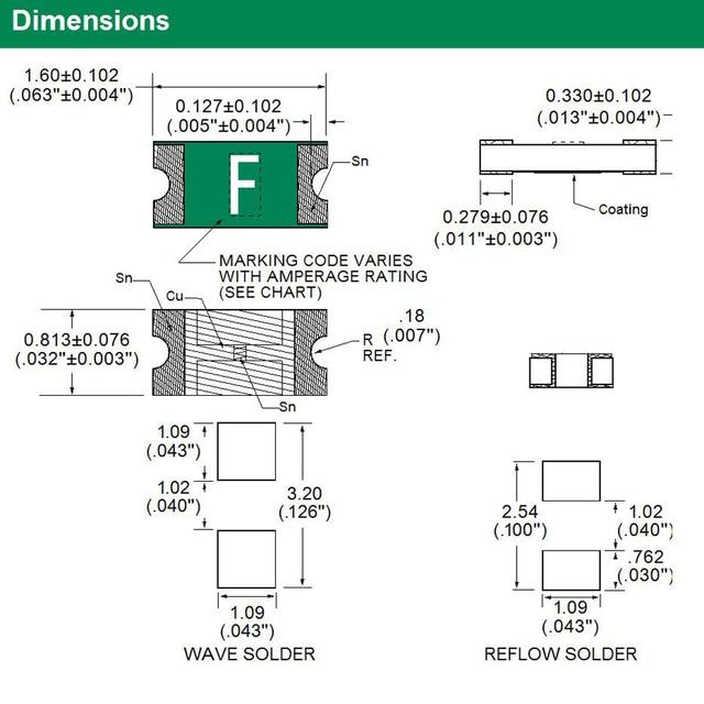 10 Pcs Littelfuse 0603 0.5A 500mA Smd Zekering 32V Zeer Snelwerkende Surface Mount 0467.500 Markering Code F