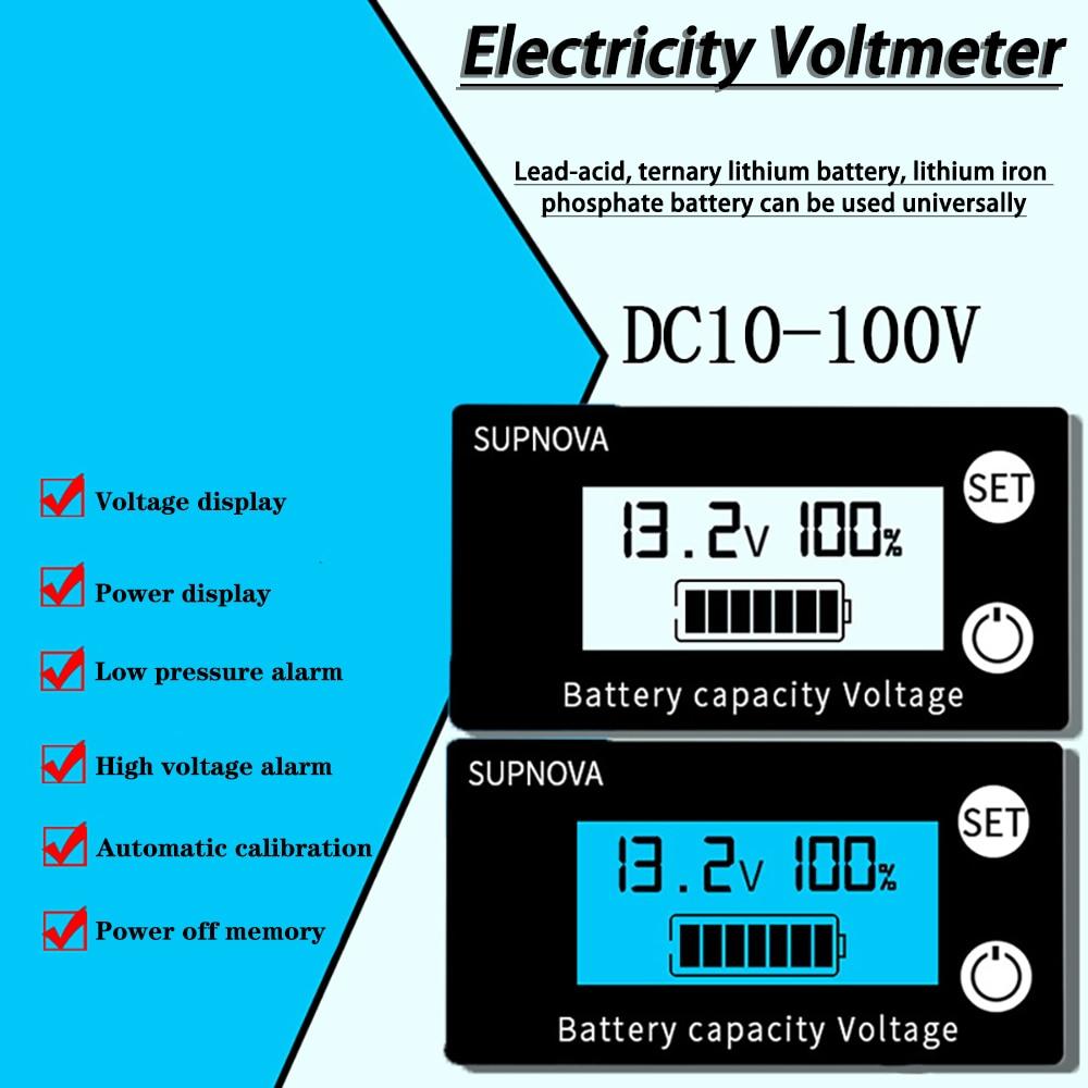 Батарея Ёмкость индикатор DC 8V-100V свинцово-кислотный литиевая LiFePO4 Автомобиль Мотоцикл вольтметр измеритель величины напряжения 12V 24V 48V 72V