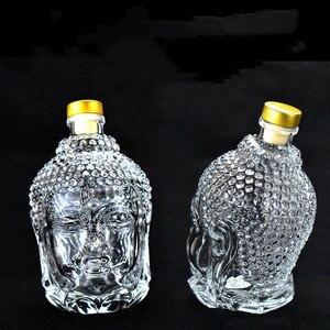 Image 5 - 750ML szklana butelka posąg buddy kryształ wody wino w butelce szklany kubek do wódka whisky napój szkło ślubne vasos de vidrio