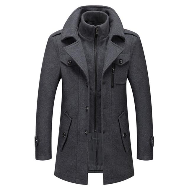 New Men Wool Blends Coats Autumn Winter Solid Color Cold Resistant Men Woolen Overcoat Double Collar Casual Trench Coat Male 1