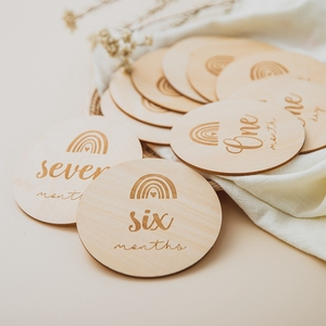 14 Pcs Wooden Baby Photography Milestone Memorial Monthly Newborn Kids Commemorative Card Number Photo Accessories Gifts