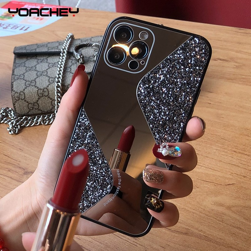 Bling Glitter Makeup Mirror Phone Case For iPhone 12 11 Pro MAX Mini X XS XR 8 7 Plus SE 2 2020 Luxury Silicone Shockproof Cover 1