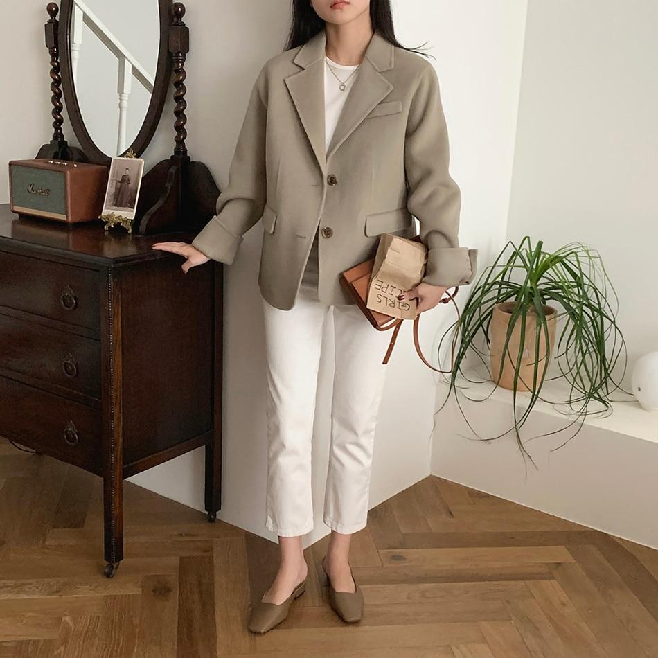 H69cca2e4bac84112884ee89895eae999W - Winter Korean Revers Collar Solid Woolen Short Coat