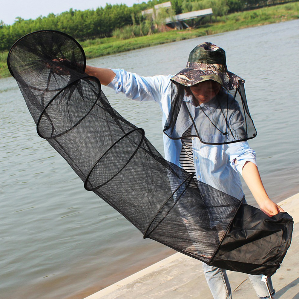 Care Cage Basket Tackle 1.5m Creel Fishing Gear 5-Layers Design Fishing Collapsible Foldable Protable Net 1pc Black High Quality