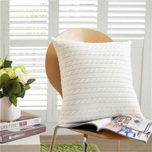 Solid Kintted Style Cushion Cover For Sofa Pillow Decorative Pillows Pillowcase Turquoise Ivory Button 45cm*45cm Soft