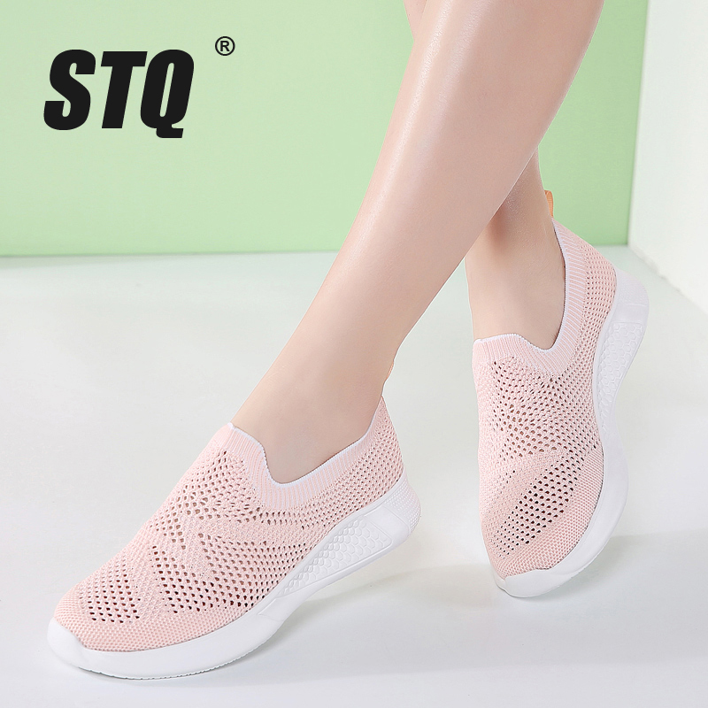 STQ 2020 Spring Women Flat Slip On Shoes Super Light Mesh Sneakers Summer Loafers Chaussures Femme Basket Flats Shoes SZ7771