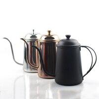 Mão gotejamento café derramando pote gooseneck bule de aço inoxidável boca longa bico chaleira  700ml|Cafeteiras|   -