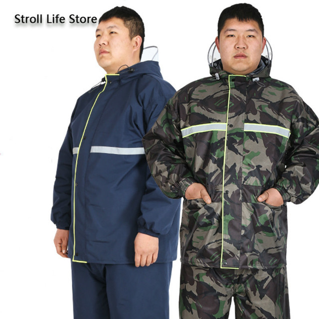 Large Plus-sized  Raincoat Men Women's Plus Size Fat People Camouflage Rain Coat Motorcycle Riding Rain Pants Impermeable Gift