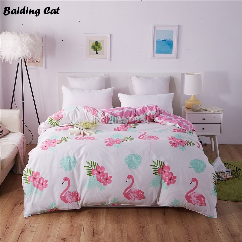 Hot Sale Flamingo Bedding Set 1 Pc Duvet Cover Polyester/Cotton Quilt Cover With Zipper 150x200cm/180x220cm/200x230cm/220x240cm