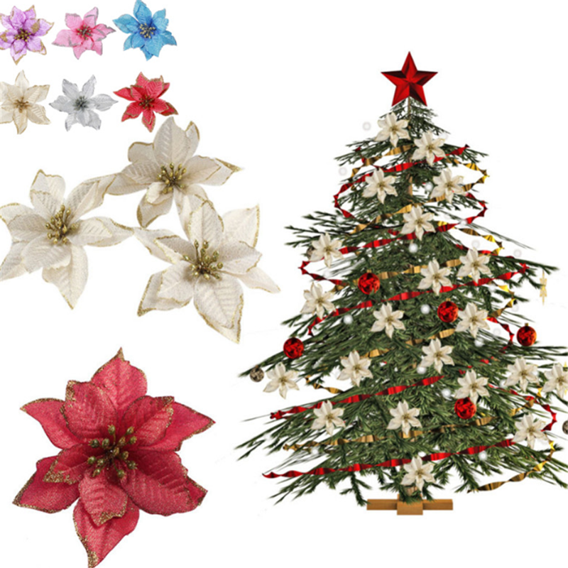 1pcs Artificial Christmas Flowers Glitter Fake Flower Merry Christmas Tree Decorations for Home 2020 Gift Xmas Ornament Navidad