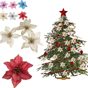Christmas-Tree-Decorations Navidad Xmas-Ornament Fake-Flower Artificial Glitter Merry