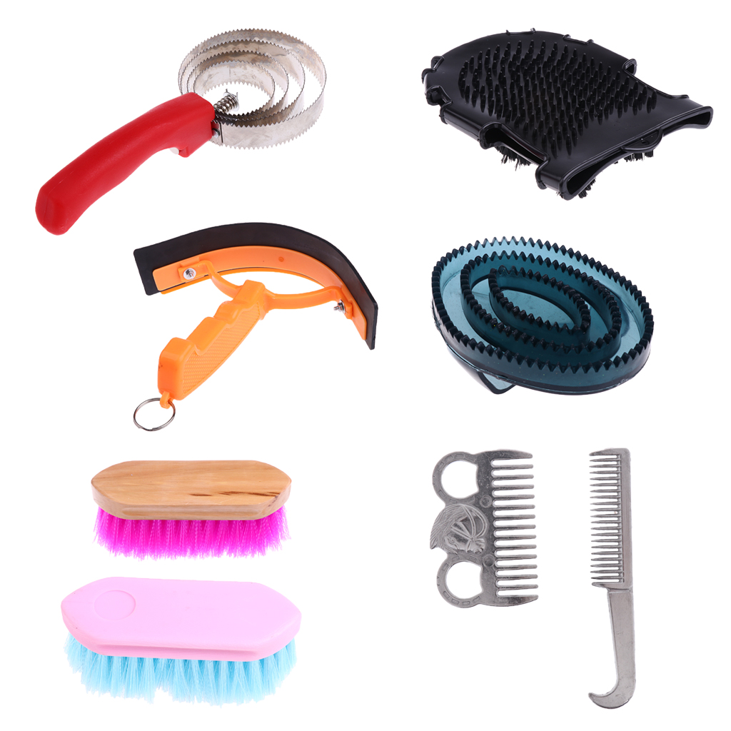 9pcs Equestrian Horse Grooming Kit Brush Comb Currycomb With Storage Bag Horse Cleaning Tool 260 X 220 X 70mm